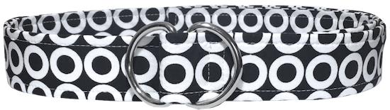 Women's black and white mod open dot d ring belt by oliver green