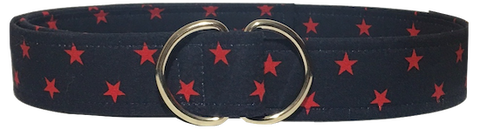 navy blue d ring belt with red stars by oliver green