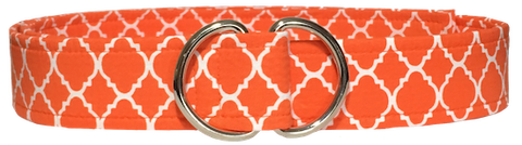 orange and white moroccan tile geometric d ring belt by oliver green