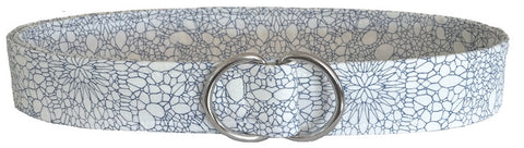 White Fabric D-Ring Belt with Blue Graphic Floral Detail by Oliver Green