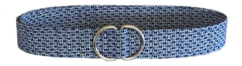 navy blue d-ring belt with white chain link detail by oliver green