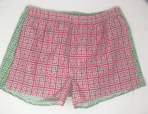 Pink and Green Greek Key Geometric Sleepie Beachies