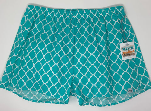 Turquoise and White Geometric Sleepie Beachies