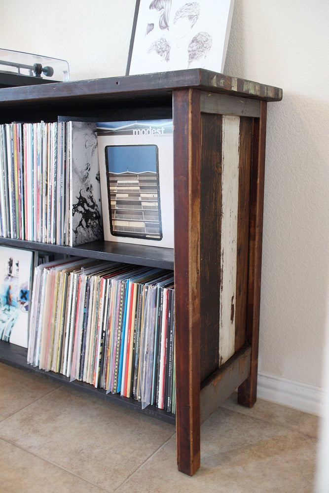Audiophile LP record storage shelf made with reclaimed wood