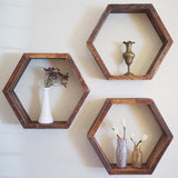 rustic decor shelves hexagons