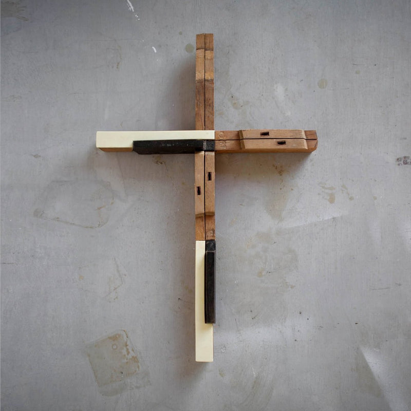 Piano Key Reclaimed Cross
