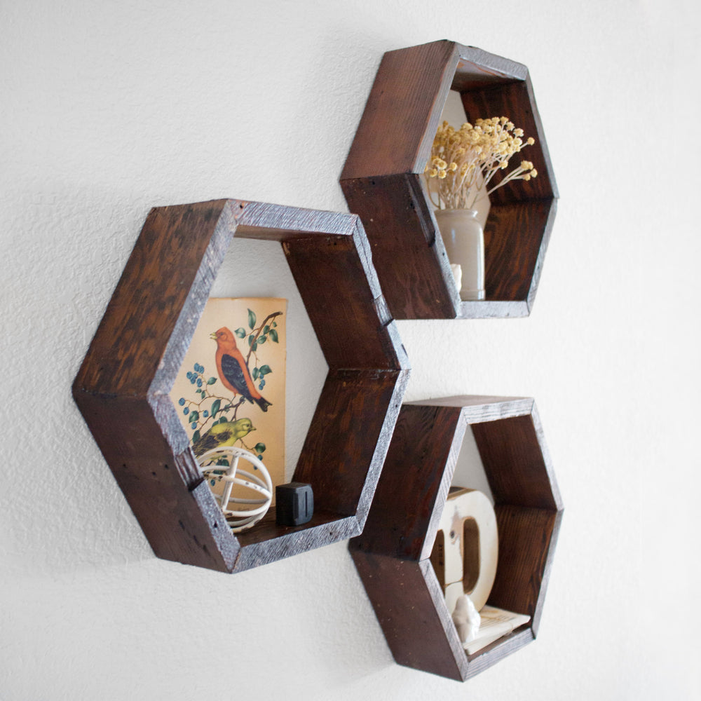 hexagon floating shelves