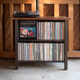 Custom handmade Display cabinet for vintage LP records and turntable