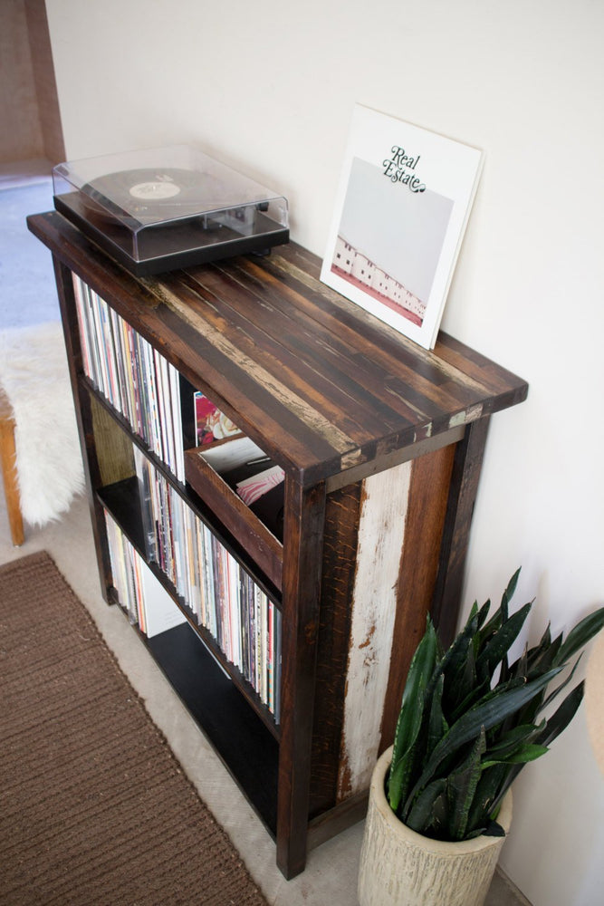 turntable LP stand handmade with reclaimed wood
