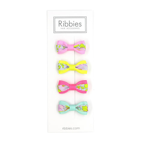 Set of 4 Liberty Bows - Betsy Lime and Pastel Pink