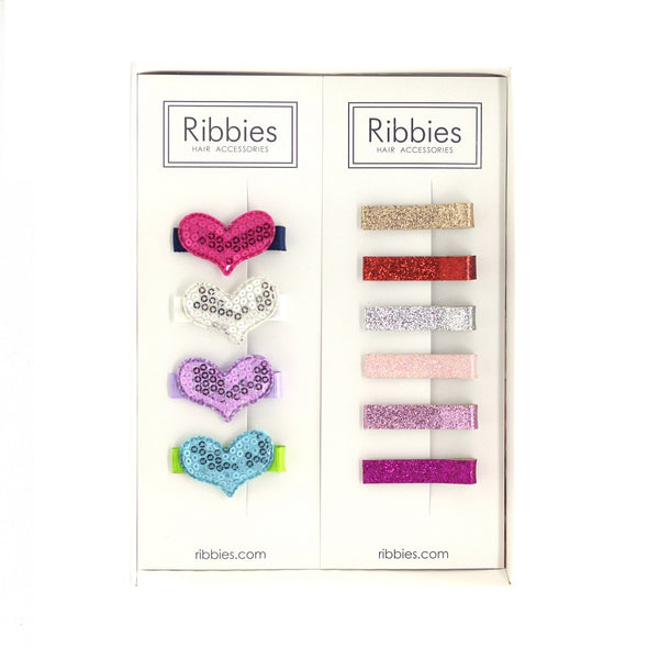 Gift Box: 1 Set of 4 Sparkle Hearts B + 1 Glitter Clips Set of 6