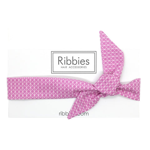 Bow Headband - Geometric Pattern - Pink