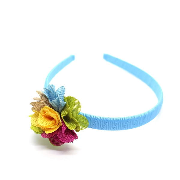 Multi Color Linen Flower Headband - Turquoise