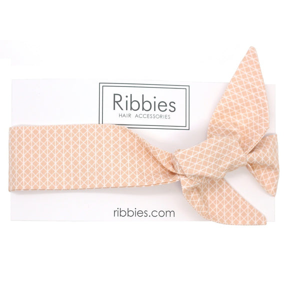 Bow Headband - Geometric Pattern - Peach