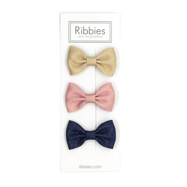 Set of 3 Sparkly Bow Tie Hair Clips - Gold, Pink and Navy