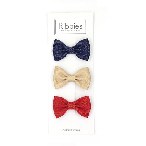 Set Of 3 Sparkly Bow Tie Hair Clips - Red, Gold and Navy