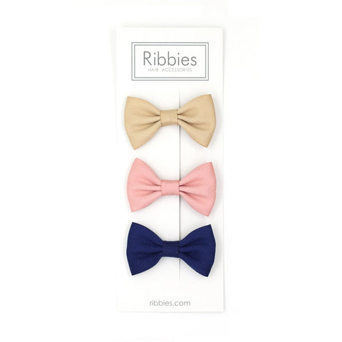 Set of 3 Bow Tie Hair Clips - Gold, Pink and Navy