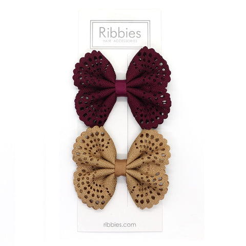 Eyelet Bow Set Burgundy and Beige
