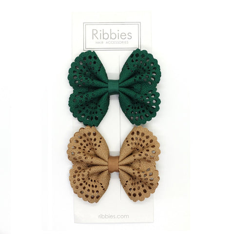 Eyelet Bow Set Green and Beige