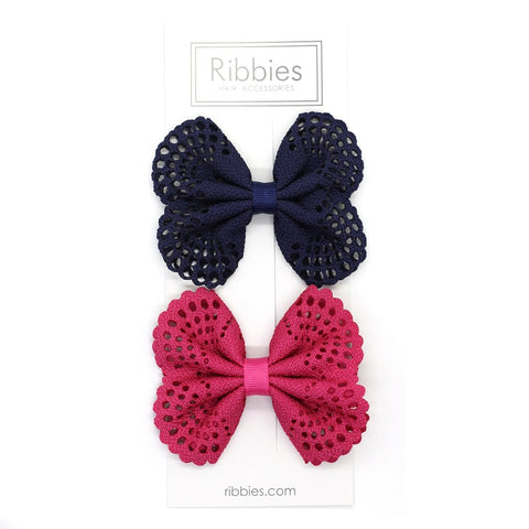 Eyelet Bow Set Navy and Hot Pink