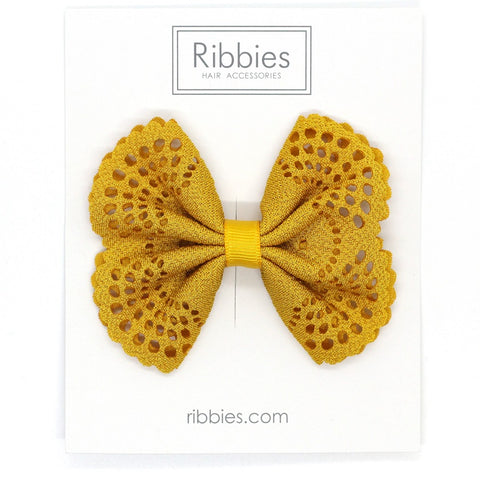 Eyelet Bow Yellow Mustard