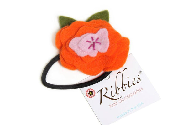 Orange Peony Felt Ponytail Holder