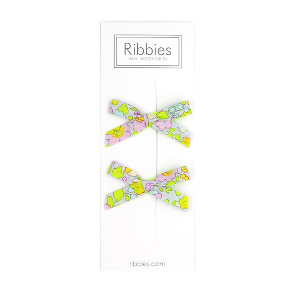 Liberty of London Schoolgirl Bows - Betsy Lime and Pastel Pink