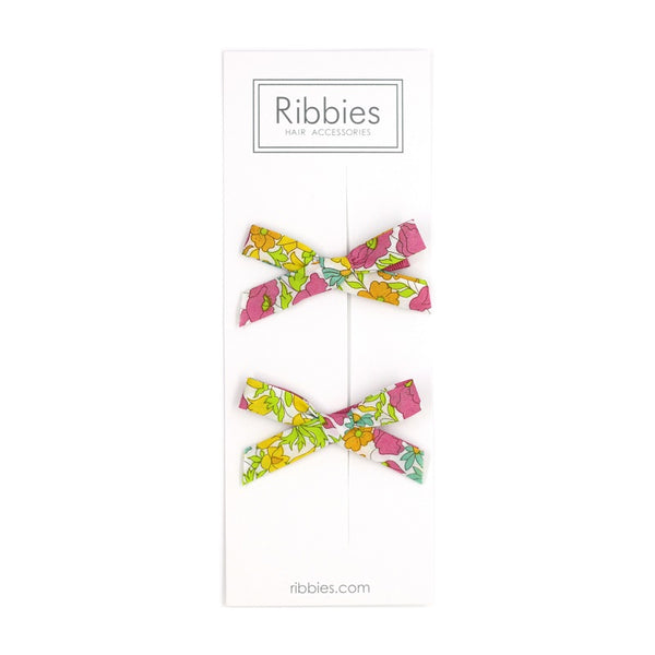 Liberty of London Schoolgirl Bows - Poppy & Daisy Pink and Green