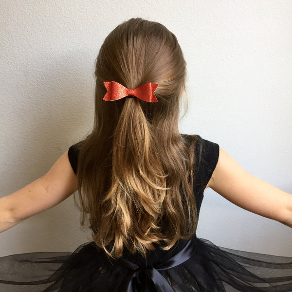 Glitter Bow Set of 3 - Red