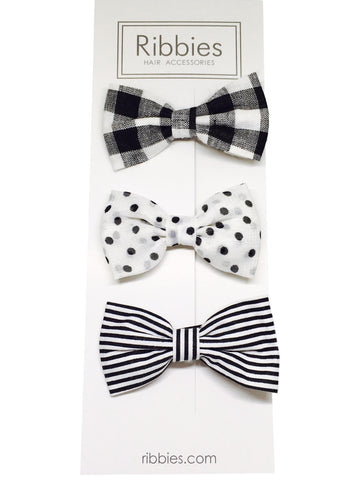 Set of 3 Bows - Black & White