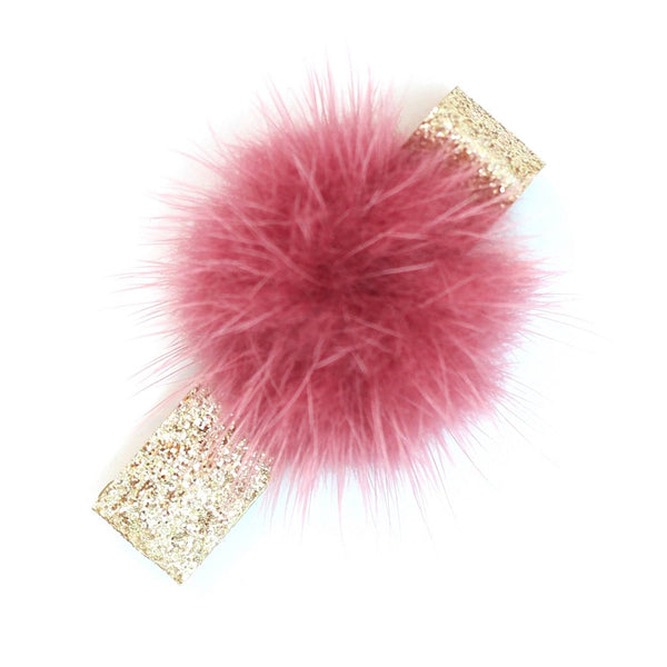 Fluffy Ball Clip - Burgundy on Sparkle Gold