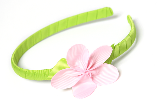 Allie Petal Headband Green with Light Pink Flower
