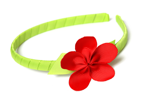 Allie Petal Headband Green with Red Flower