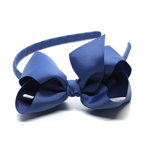 Bow Headband Smoke Blue