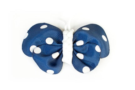 Navy Dot Butterfly Ribbon Hair Clip