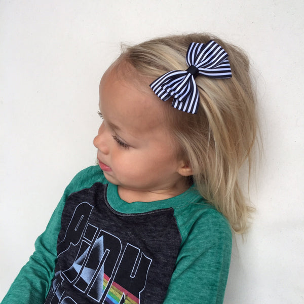 Stripe Lucie Style Bows in Blue / White