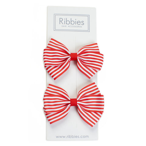 Stripe Lucie Style Bows in Red / White