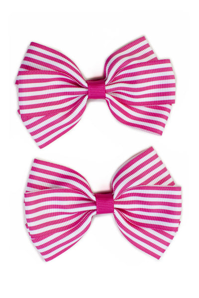 Stripe Lucie Style Bows in Hot Pink / White