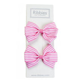 Stripe Lucie Style Bows in Pink / White