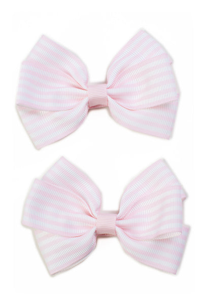 Stripe Lucie Style Bows in Light Pink / White
