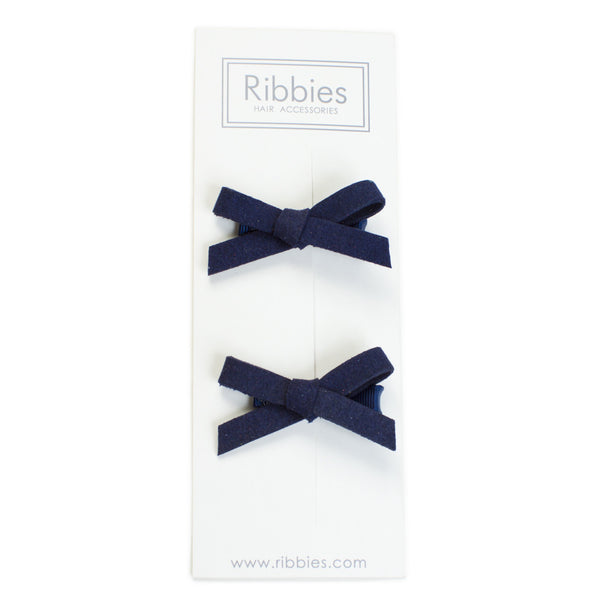 Suede Schoolgirl Bow Pair in Navy