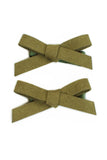 Suede Schoolgirl Bow Pair in Moss