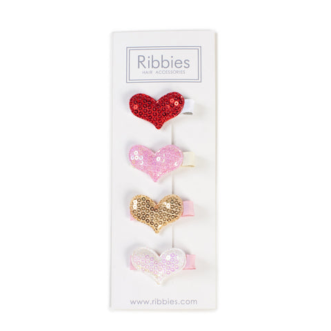 Set of 4 Sparkle Hearts A