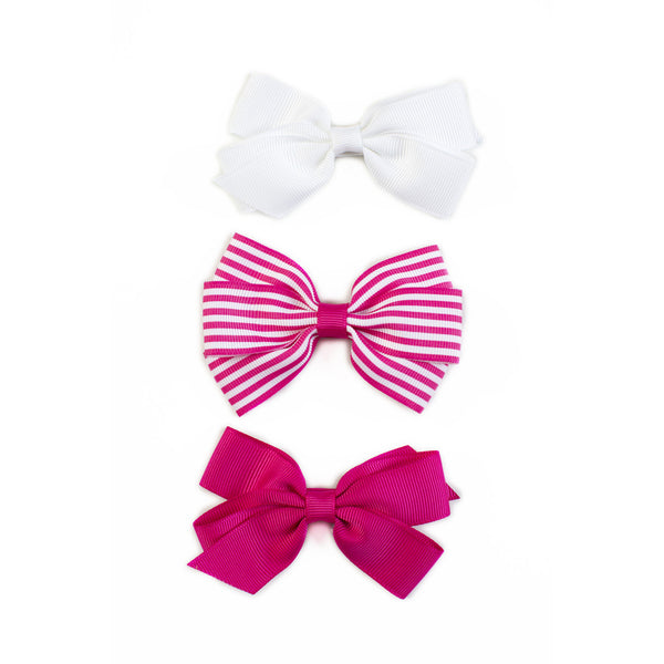 Lucie Hair Bows - Hot Pink (Set of 3)