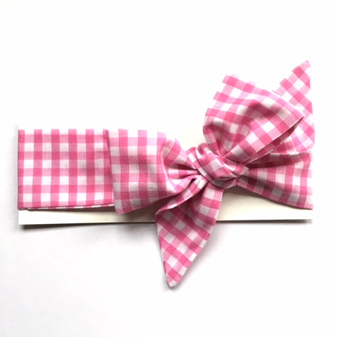 Small Pink Gingham Headwrap