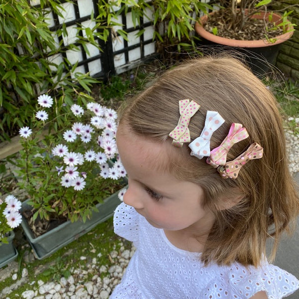 Small Bow Hair Clip Set of 9 - Striped - Pink & Brown