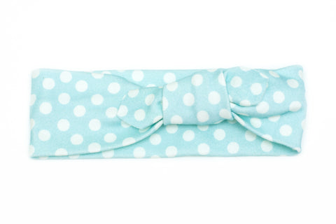 Organic Cotton Headband Blue Polkadot