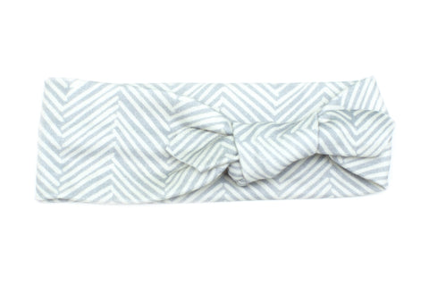Organic Cotton Headband Grey Herringbone