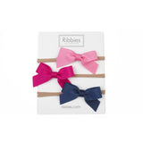 Nylon Headband Lauren Bow Set of 3 - Bright