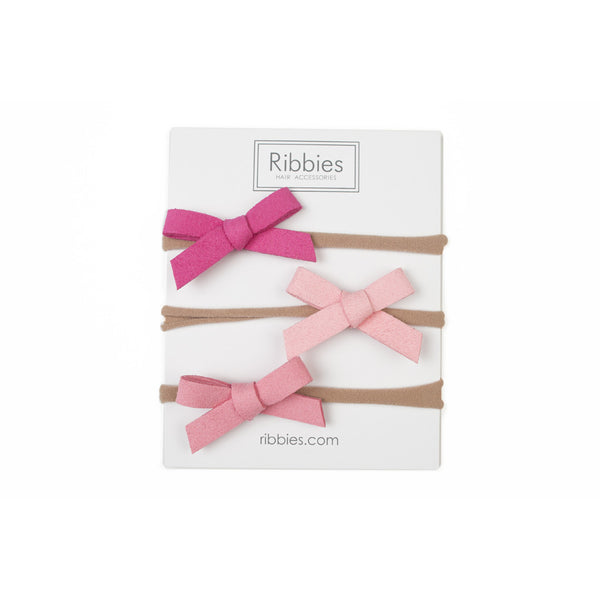 Nylon Headband Suede Bow Set - Pink